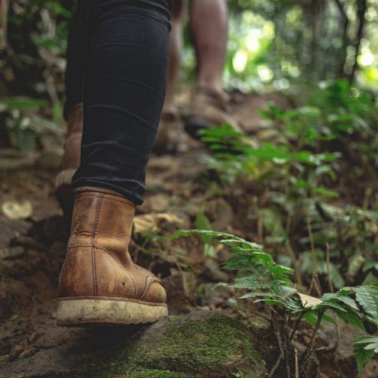 Hiking female boots have fun and enjoy wilderness exploration. Freedom concept trekking